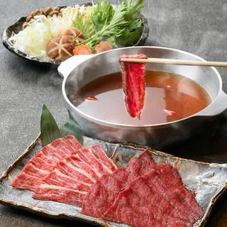 島唐辛子スープで食べる馬肉しゃぶしゃぶに感動