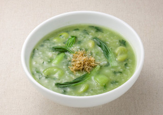 おかゆと麺のお店 粥餐庁 京王モール店  - ほうれん草どっさり♪そら豆とシャキシャキちんげん菜の緑のおかゆ