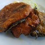 工場レストラン健食たぬみせ - 納豆揚げ。三色納豆揚げとでも名付けたらわかりやすいのにね^^