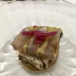 Grand rocher - 福岡県産カマスと焼茄子の瞬間燻製 焼茄子を使ったピューレソース