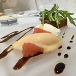 Grand rocher - 鳥取県ととりこ豚スパイス煮込み バルサミコソース ヨーグルトソース 生姜のアイスクリーム