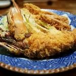 119587531 - 大皿盛り(天然特大海老フライ、ロースかつ、鶏むねかつ、手ごねかつ、季節の野菜フライのカブフライ) 5,000円
