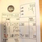 ガスト - 2019/11/13       ミックスグリル 549円       山盛りポテトフライ 219円       持ち帰りマルゲリータピザ 323円