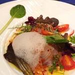 ラピス - 料理写真:前菜→真鯛のカルパッチョ。あわはワインビネガーとのこと