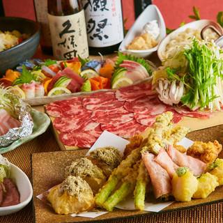 天麩羅と和食が楽しめる宴会コースは飲み放題付き3480円〜