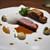 リョウリヤ ステファン パンテル - 料理写真:ブルターニュ産の鴨 胸肉のローストにジュのソース 腿とレバーとポルチーニのパイ包み ジュニパーベリーの泡 ローズマリー風味の小かぶ マルメロのチャツネ