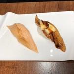 Nikutosakananosushiyokaichi - 炙りトロサーモン トリュフ塩とうなぎカマンベール炙り