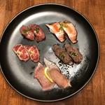 Nikutosakananosushiyokaichi - 肉寿司盛り合わせ5貫