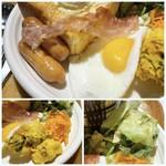 アペティート カフェ - ◆目玉焼き・・珈琲フレッシュなどをおいている棚に、使い切りサイズのケチャップが用意されていましたので かけて頂きました。 ◆ベーコンは、上手にかなりの薄切りにされているので、カリカリ食感。 この薄さに切るのは、技ですね。 ◆ソーセージは美味しい。 ◆キャロットラペはいい味わい。 ◆カボチャとポテトのサラダはポテトが硬く、残しました。