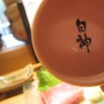 魚真 新宿店 - ピンクのおちょこの中には・・・