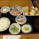 日本酒バル Chintara - 刺身定食+鯵フライ