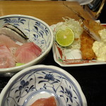 日本酒バル Chintara - 刺身+鯵フライ(アップ)