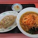 ラーメン 秦々 - ねぎ味噌Cセット(半チャーハン)