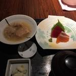 旬彩庵 - 刺身と鶏肉のしぐれ煮の定食