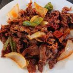 太陽城 - 孜然羊肉(ラム肉のクミン炒め)
