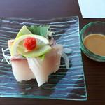 御曹司きよやす邸 - カンパチと胡麻ポン酢