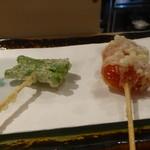 Tempuratowain kajiki - 天ぷら(トマト、しし唐)