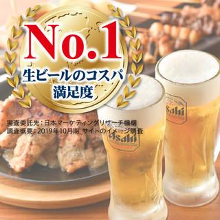 生ビールのコスパ満足度No1★ビールは破格の199円!!