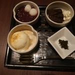 京はやしや - 選べる小鉢セット(ほうじ茶ふぃなんしぇ&ホイップクリーム、白玉小豆、ミルクアイス(黒蜜きなこかけ))
