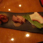 さつま - 前菜(唐揚げ・焼き豚・蛸寿司)