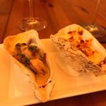 ビストロクレオ - 牡蠣二種、レモンバターとグラ・タン二種。