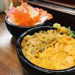 海鮮処 魚屋の台所 - 海鮮丼、ウニの二色丼