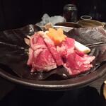 海老の髭 - ◆肉料理:牛肉の朴葉味噌焼き