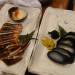 和民 - イカ丸焼きと茄子の漬物