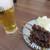 てっ平 - 料理写真:生中&どて