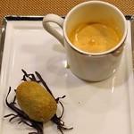 レンゲ - アミューズ  上海蟹のビスク と 黒鮑のクリームコロッケ