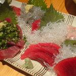 薊 - お刺身盛り合わせ(鮪赤身、中トロ、鰹、鯛、生しらす)