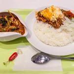 インド式カレー 夢民 - ポパイカレー 910円+ベーコン 200円+野菜 200円+32ホット 300円+大盛 100円=1,710