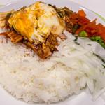 インド式カレー 夢民 - ポパイ野菜ベーコン 32ホット ライス大盛 アップ