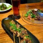 SAKABARU24 SKY - ことこと煮込んだ牛すじ串、福島クラフトビール