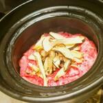 119958034 - 松茸とザブトンの土鍋ご飯+赤だし