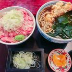 神田 味喜庵 - まかない丼(ねぎとろ丼) と そば(えび天そば) のセット(ご飯大盛) 1,000円(ご飯大盛=同価格)