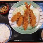 かつ丼のかつさと - 海老&カキフライ定食