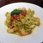 イタリア食堂 パッシオーネ - 小海老とジャガイモのジェノベーゼスパゲッテイ