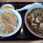 富士見東家 - 料理写真:かしわそばとちび天丼のセット 1080円