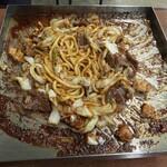 亀とん食堂 - 味噌焼きうどん(牛バージョン)