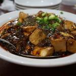 120087367 - 黒い麻婆豆腐に間違いは無い♪(自家製の甜麺醤の色)