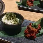 120130951 - 燻製秋刀魚のキムチ/山芋のあおさのナムル