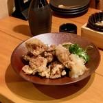 肉と京料理 かぐら - 揚げ鶏と九条ねぎのかぼすポン酢和え