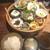 博多 なぎの木 - 「なぎの木膳(1000円:外税)」・・お料理数種類が盛られた「籠」、ご飯、お味噌汁など。 メニューを見た限りでは「ご飯」と「お味噌汁」はお代わり可能なようです。