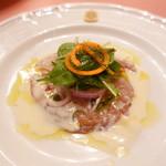 ピッツェリア・サバティーニ - 秋鮭のカルパッチョヨーグルトのヴィネグレットソース