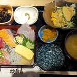 板前バル - ネギトロシラスの海鮮重定食(¥1000)