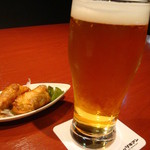 旬味美酒 松江駅前四季庵 - ビール&お通しの焼き餃子