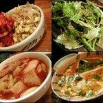 """赤ちょうちん - """"豆モヤシ&キムチ、赤ちょうちんサラダ、辛牛テールスープ、辛煮込み"""""""