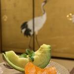 一乗院 - メロンと完熟柿