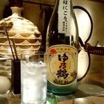 yakitoriwainnihonshukyuu - ヤキトリ、ワイン、日本酒、Q@札幌 ゆ乃鶴 無濾過超にごり ウイスキー酵母仕込み